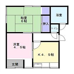 根倉アパート[102号室]の間取り