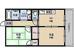 菊千マンション7階Fの間取り画像