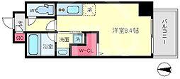 セルン新町 9階ワンルームの間取り