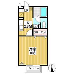 パルフェ三輪B棟[2階]の間取り