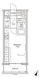 東急池上線 戸越銀座駅 徒歩4分の賃貸マンション 10階ワンルームの間取り
