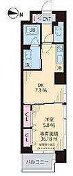 Yun Park Kiba(ユンパークキバ) 5階1DKの間取り