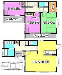 [一戸建] 東京都西東京市下保谷3丁目 の賃貸【/】の間取り