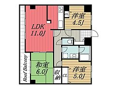 千葉県千葉市中央区東千葉2丁目の賃貸マンションの間取り