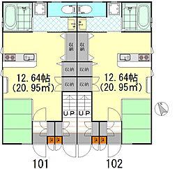 MガーデンパレスIII 1階ワンルームの間取り