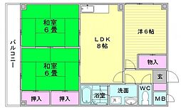八尋タウンハウス[101号室]の間取り