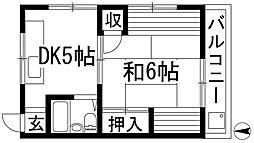 兵庫県宝塚市星の荘の賃貸アパートの間取り