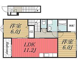JR総武本線 八街駅 徒歩18分の賃貸アパート 2階2LDKの間取り