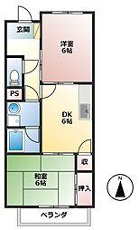 JR東海道新幹線 岐阜羽島駅 4.4kmの賃貸アパート 1階2DKの間取り
