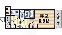 ファーストレジデンス大阪BAY SIDE 2階1Kの間取り