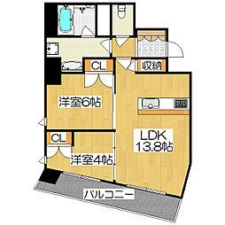 プラネスーペリア京都四条河原町[703号室]の間取り