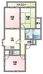 大阪府四條畷市中野1丁目の賃貸マンションの間取り