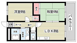 大阪府豊中市長興寺南3丁目の賃貸アパートの間取り