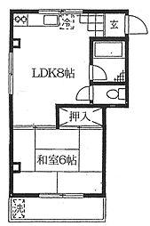 京急本線 平和島駅 徒歩3分の賃貸マンション 3階1LDKの間取り