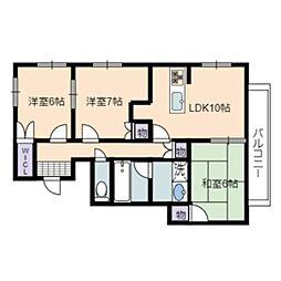 静岡県静岡市葵区羽鳥2丁目の賃貸アパートの間取り