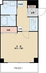 北島マンション 3階1Kの間取り