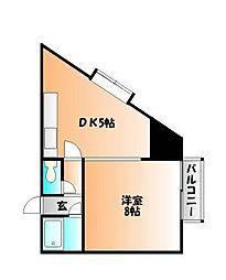 岡山県岡山市北区富町1丁目の賃貸マンションの間取り