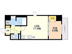 (仮)平尾1丁目マンション 4階1LDKの間取り