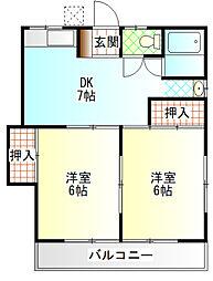 米山荘[201号室]の間取り
