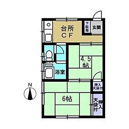 鷹取荘[2号室]の間取り