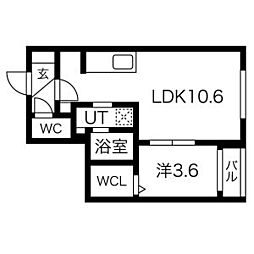 グランメール中の島1-4 5階1LDKの間取り
