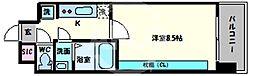スプランディッド天王寺 8階1Kの間取り