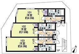 神奈川県相模原市南区相模大野8の賃貸アパートの間取り