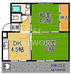 水戸田マンションA・B棟[B407号室号室]の間取り