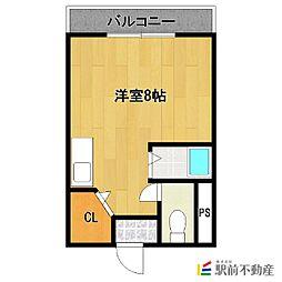 JR鹿児島本線 西牟田駅 徒歩12分の賃貸マンション 3階ワンルームの間取り