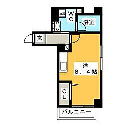 ハイリーフ上野 6階ワンルームの間取り