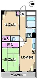東京都北区西ケ原3丁目の賃貸マンションの間取り