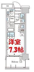 パークアクシス横濱大通り公園 4階ワンルームの間取り
