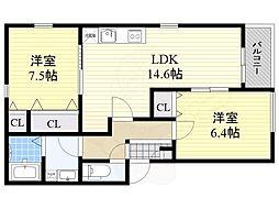グラツィア堺(旧称 ポラリス堺3) 1階2LDKの間取り