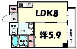 ヒマワリ八雲 1階1LDKの間取り