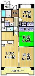 コーシャハイツ高見38[8階]の間取り