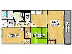 大阪府高石市取石5の賃貸マンションの間取り