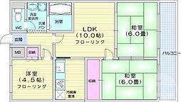 JR仙山線 北仙台駅 徒歩9分の賃貸マンション 9階3LDKの間取り