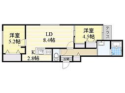 北海道札幌市北区北40条西5丁目の賃貸マンションの間取り