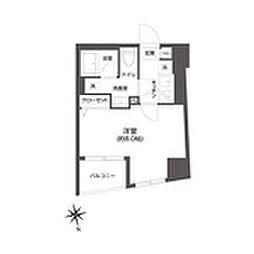都営大江戸線 牛込柳町駅 徒歩3分の賃貸マンション 3階1Kの間取り