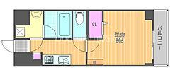 JR宇野線 大元駅 徒歩7分の賃貸マンション 4階1Kの間取り