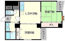 第2アーバンス新大阪[5階]の間取り
