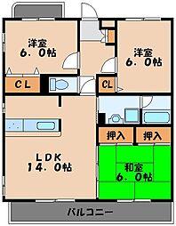 福岡県福岡市早良区小田部1丁目の賃貸マンションの間取り