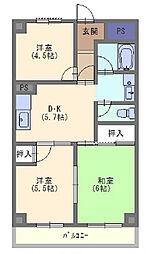 ロイヤルハイム豊里 5階3DKの間取り