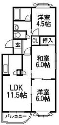 北海道札幌市西区西町北16丁目の賃貸マンションの間取り