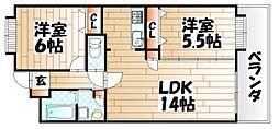 ニューリバー八幡[4階]の間取り