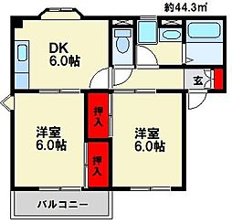 エステート須玖[2階]の間取り