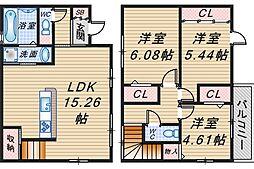 [テラスハウス] 大阪府豊中市小曽根2丁目 の賃貸【/】の間取り