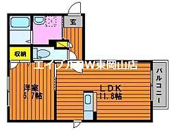 シャーメゾンプロスペリーテ平島B棟 2階1LDKの間取り