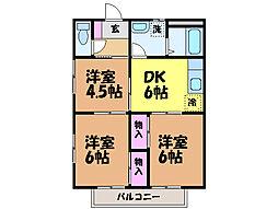 愛媛県松山市小栗2丁目の賃貸アパートの間取り