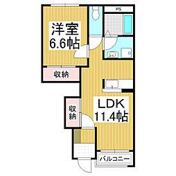 来里夢II 1階1LDKの間取り